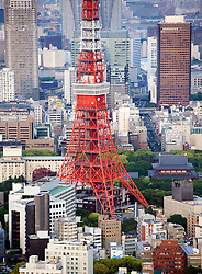 View of Tokyo Tower in central Tokyo Japan
