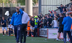 Raith Rovers players cele after Kevin Nisbet (15) scoed their fourth goal. Airdrie 3 v 4 Raith Rovers, Scottish Football League Division One played 25/8/2018 at the Excelsior Stadium.