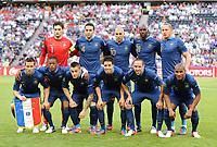 Fotball , 11. juni 2012 , Euro , England - Frankrike<br /> Torwart Hugo Lloris, Adil Rami, Karim Benzema, Alou Diarra, Philippe Mexes<br /> vorn v.l. Yohan Cabaye, Patrice Evra, Mathieu Debuchy, Samir Nasri, Franck Ribery, Florent Malouda <br /> lagbilde<br /> Norway only