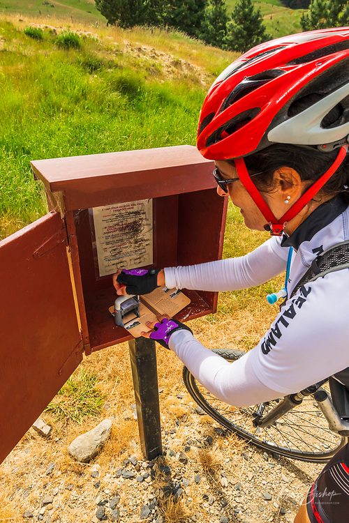 Cyclist stamping a passport on the Otago Central Rail Trail, Otago, South Island, New Zealand