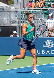 August 5, 2018 - San Jose, CA, U.S. - SAN JOSE, CA - AUGUST 05: Maria Sakkari (GRE) pumps her fist after an ace during the WTA Singles Championship at the Mubadala Silicon Valley Classic  at the San Jose State University Stadium Court in San Jose, CA  on Sunday, August 5, 2018. (Photo by Douglas Stringer/Icon Sportswire) (Credit Image: © Douglas Stringer/Icon SMI via ZUMA Press)