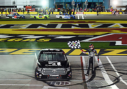 March 1, 2019 - Las Vegas, NV, U.S. - LAS VEGAS, NV - MARCH 01: Kyle Busch (51) KBM Toyota Tundra celebrates the race win during the NASCAR Gander Outdoors Truck Series Strat 200 on March 01, 2019, at Las Vegas Motor Speedway in Las Vegas, NV. (Photo by Chris Williams/Icon Sportswire) (Credit Image: © Chris Williams/Icon SMI via ZUMA Press)