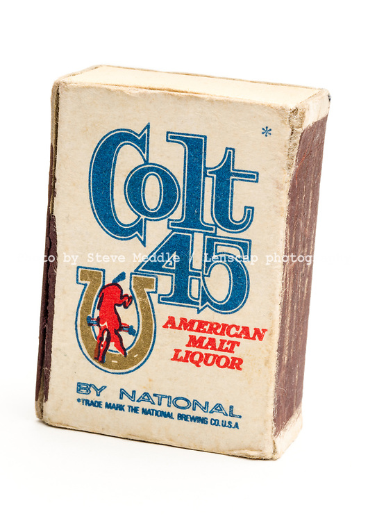 London, England - June 09, 2017: Box of Colt 45 Matches, Colt 45 is an American Malt Liquor made by the National Brewing Company since 1963.