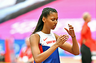 Morgan Lake (GBR) goes through her routine during the Muller Anniversary Games at the London Stadium, London, England on 9 July 2017. Photo by Jon Bromley.