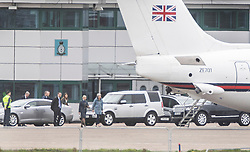 © Licensed to London News Pictures. 21/03/2019. London, UK. Prime Minister Theresa May walks to her plane at RAF Northolt as she heads to Brussels for an EU summit. Mrs May is seeking a short delay for Brexit as she attempts to get the Withdrawal Agreement through Parliament. Photo credit: Peter Macdiarmid/LNP