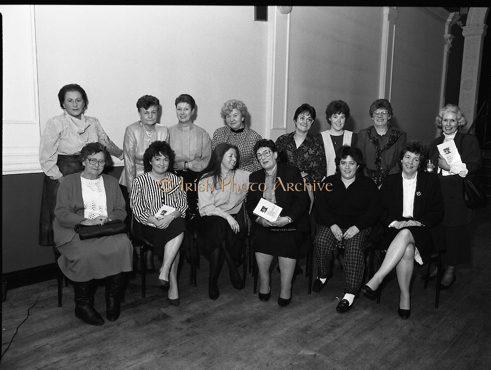 """""""These Obstreperous Lassies"""" Book Launch.  (R93)..1988..15.12.1988..12.15.1988..15th December 1988..A book which chronicles an important aspect of Irish social history was launched in Larkin Hall. """"These Obstreperous Lassies"""" written and researched by Mary Jones, details the seventy three years of the Irish Women Workers Union and of the women who were involved in the union..With Countess Markievicz as its first president, The Union began the fight for equal pay and fair treatment under the leadership of women like helen Chenevix, Louise Bennett and Helena Molloy. They fought for the rights of vulnerable workers such as Laundresses,print workers,box makers,nurses and dressmakers..The Author, Mary Jones, is a full time researcher specialising in Women and Work...Past and present members of the Women's Workers Union pose for pictures at the launch of the book """"These Obstreperous Lassies"""""""