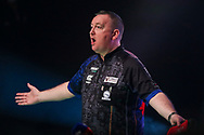 Glen Durrant walk on for the final against Nathan Aspinall during the Unibet Premier League Play-Offs at the Ricoh Arena, Coventry, England on 15 October 2020.