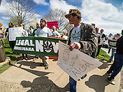 20 APRIL 2016 - ST. PAUL, MN: People march through St. Paul, MN, calling for the legalization of marijuana. About 100 people gathered at the Minnesota State Capitol in St. Paul and marched through downtown St. Paul calling for the decriminalization of marijuana. April 20 (4/20) has become a sort of counter culture holiday in the US, with marches in many cities calling for the legalization of marijuana.      PHOTO BY JACK KURTZ