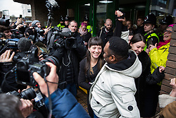 Chelmsford, UK. 6th February, 2019. Members of the Stansted 15 leave Chelmsford Crown Court during a break from their sentencing hearing. They were convicted on 10th December of an anti-terrorism offence under the Aviation and Maritime Security Act 1990 following non-violent direct action to try to prevent a Home Office deportation flight carrying precarious migrants to Nigeria, Ghana and Sierra Leone from taking off from Stansted airport in March 2017.