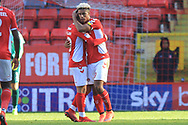 GOAL Lyle Taylor is congratulated after making it 3-0 during the EFL Sky Bet League 1 match between Charlton Athletic and Rochdale at The Valley, London, England on 4 May 2019.