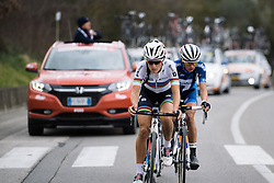 Final 10 kilometers for the lead three - 2016 Strade Bianche - Elite Women, a 121km road race from Siena to Piazza del Campo on March 5, 2016 in Tuscany, Italy.