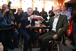© Licensed to London News Pictures. 28/09/2021. Brighton, UK. BARRY GARDINER AND JEREMY CORBYN at a Stop Fire and Rehire fringe event. The fourth day of the 2021 Labour Party Conference , which is taking place at the Brighton Centre . Photo credit: Joel Goodman/LNP