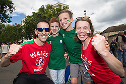 PARIS, FRANCE - Saturday, June 25, 2016: Wales and Northern Ireland supporters in Paris ahead of the match during the Round of 16 UEFA Euro 2016 Championship at the Parc des Princes. (Pic by Paul Greenwood/Propaganda)