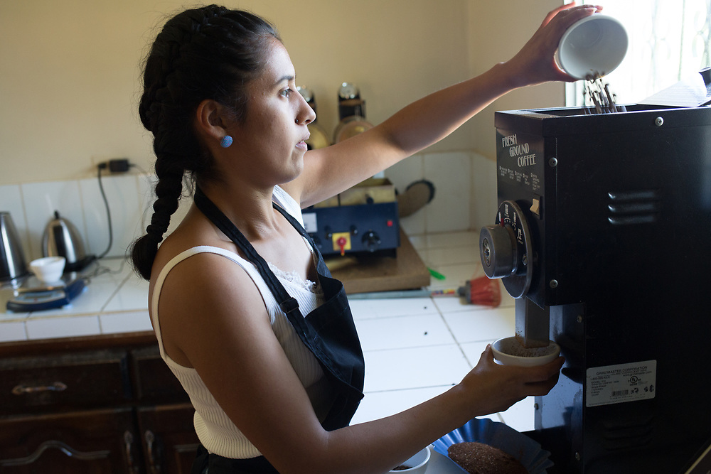 Ury Villatoro, in the coffee laboratory at RAOS, Marcala, Honduras
