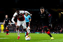 Hatem Ben Arfa of Rennes takes on Ainsley Maitland-Niles of Arsenal - Mandatory by-line: Robbie Stephenson/JMP - 14/03/2019 - FOOTBALL - Emirates Stadium - London, England - Arsenal v Rennes - UEFA Europa League, Round of 16, 2nd leg