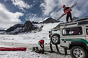 Innsbruck, rescue operation with the team at  the Stubaier Glacier