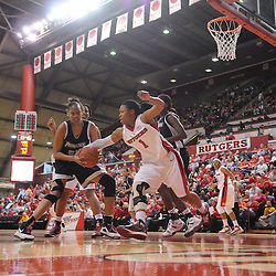 Feb 21, 2009; Piscataway, NJ, USA; Rutgers guard Khadijah Rushdan (1) steals the ball from Providence center Jessica Clark (55) during the second half of Rutgers' 55-42 victory over Providence at the Louis Brown Athletic Center.