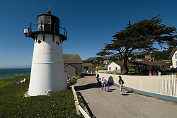 Montara Lighthouse, now a Youth Hostel, .San Mateo Coast of California, south of San Francisco.  Photo copyright Lee Foster, 510-549-2202, lee@fostertravel.com, www.fostertravel.com.  Photo 420-30834
