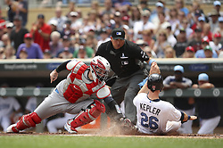 June 18, 2017 - Minneapolis, MN, USA - Cleveland Indians catcher Roberto Perez successfully makes the tag on Minnesota Twins right fielder Max Kepler, who was attempting to score from second on a single by Eduardo Escobar, in the second inning on Sunday, June 18, 2017 at Target Field in Minneapolis, Minn. (Credit Image: © Jeff Wheeler/TNS via ZUMA Wire)