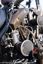 "Chris Graves' Fast Eddy Co. 1975 Harley-Davidson ""Hush Your Mouth"" Shovelhead at the docks on setup day for the 27th Annual Mooneyes Yokohama Hot Rod Custom Show 2018. Yokohama, Japan. Saturday, December 1, 2018. Photography ©2018 Michael Lichter."