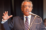 """19 JUNE 2009 -- PHOENIX, AZ: The Rev. Al Sharpton (CQ) talks to people at Pilgrim Rest Church in Phoenix. Rev. Al Sharpton is in Phoenix Friday to protest the high profile """"crime suppression"""" sweeps conducted by the Sheriff's Department. Critics contend the sweeps use racial profiling to target Hispanics. PHOTO BY JACK KURTZ"""