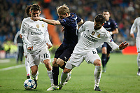 Real Madrid´s Nacho and Kovacic and Malmo´s Lewicki during 2015/16 Champions League soccer match between Real Madrid and Malmo at Santiago Bernabeu stadium in Madrid, Spain. December 08, 2014. (ALTERPHOTOS/Victor Blanco)