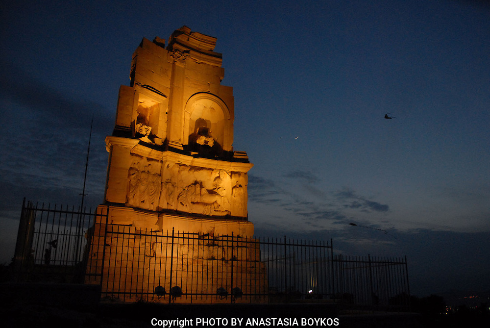 Filopappou Hill Monument by night.