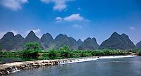 Weir crossing on the Dragon River near Yangshuo.