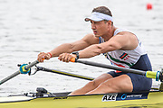 Poznan, POLAND, Friday<  21/06/2019,  AZE. M1X Aleksandar Aleksandrov at the start of his heat in the Men's Single Sculls, FISA World Rowing Cup II, Malta Lake Course, [© Peter SPURRIER/Intersport Images[,