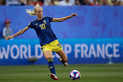 June 29, 2019 - Rennes, France - Sofia Jakobsson (Montpellier HSC) of Sweden shooting to goal during the 2019 FIFA Women's World Cup France Quarter Final match between Germany and Sweden at Roazhon Park on June 29, 2019 in Rennes, France. (Credit Image: © Jose Breton/NurPhoto via ZUMA Press)