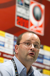 Patrick Baumann, general secretary of FIBA at press conference prior to the Preliminary Round - Group B basketball match between National teams of USA and Slovenia at 2010 FIBA World Championships on August 29, 2010 at Abdi Ipekci Arena in Istanbul, Turkey.  (Photo by Vid Ponikvar / Sportida)