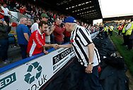 Charlton fan and Rochdale fan shaking hands during the EFL Sky Bet League 1 match between Rochdale and Charlton Athletic at Spotland, Rochdale, England on 5 May 2018. Picture by Paul Thompson.