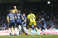 Burton Albion forward Liam Boyce (27) heads at goal  during the EFL Sky Bet League 1 match between Southend United and Burton Albion at Roots Hall, Southend, England on 22 April 2019.
