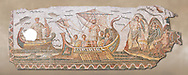 Roman mosaic depicting Ulysses resisting the songs of the Sirens on his way back from Troy. In Homers Odyssey it is told that when Ulysses returned home by ship he sailed past the island of the Sirens. Fable had it that the rapture induced by the songs of the Sirens forced sailors to jump overboard and drown. From the reign of Emperor Gallienus 260-280 AD. Excavated from The House of Dionysus and Ulysses, Dougga, Inv 2884A. .<br /> <br /> If you prefer to buy from our ALAMY PHOTO LIBRARY  Collection visit : https://www.alamy.com/portfolio/paul-williams-funkystock/roman-mosaic.html - Type -   Bardo    - into the LOWER SEARCH WITHIN GALLERY box. Refine search by adding background colour, place, museum etc<br /> <br /> Visit our ROMAN MOSAIC PHOTO COLLECTIONS for more photos to download  as wall art prints https://funkystock.photoshelter.com/gallery-collection/Roman-Mosaics-Art-Pictures-Images/C0000LcfNel7FpLI