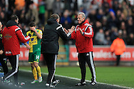 Alan Curtis , the assistant manager of Swansea city ®  celebrates his teams 1-0 win at the final whistle.  Barclays Premier league match, Swansea city v Norwich city at the Liberty Stadium in Swansea, South Wales  on Saturday 5th March 2016.<br /> pic by  Andrew Orchard, Andrew Orchard sports photography.