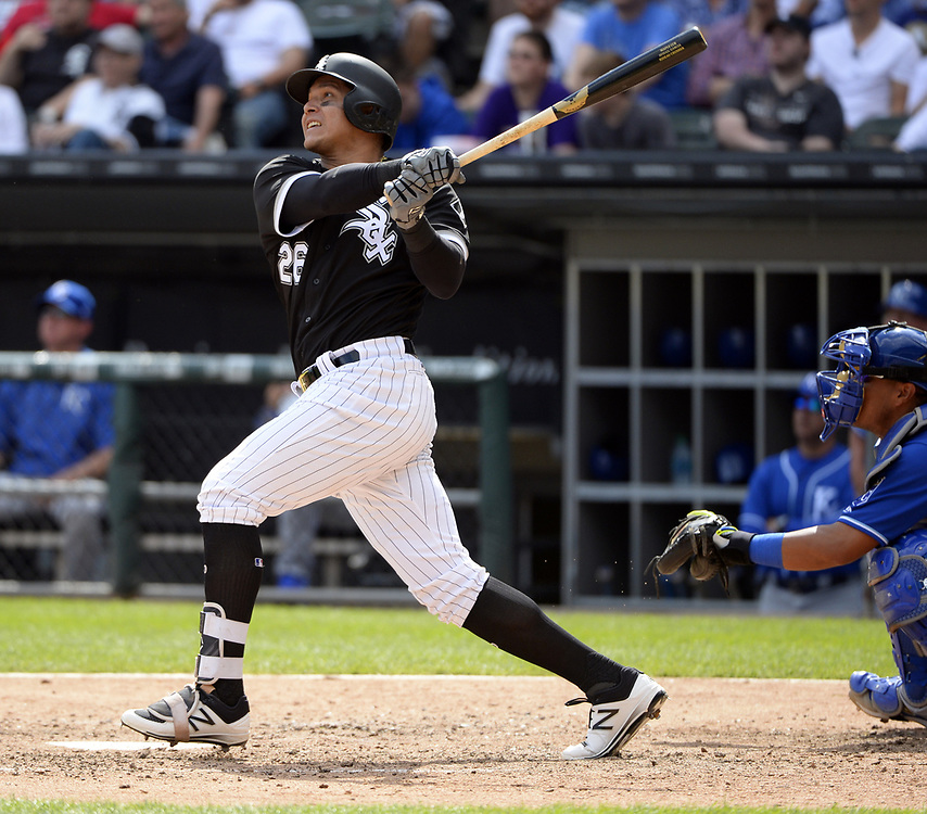 CHICAGO - APRIL 26:  Avisail Garcia #26 of the Chicago White Sox hits a two-run home run in the sixth inning against the Kansas City Royals on April 26, 2017 at Guaranteed Rate Field in Chicago, Illinois.  The White Sox defeated the Royals 5-2.  (Photo by Ron Vesely)   Subject:  Avisail Garcia