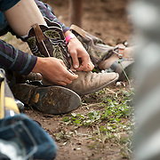 A rider straps his spurs on before the 2016 Darby MT EPB.  Josh Homer photo.  Photo credit must be given on all uses.