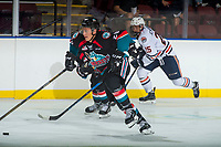 KELOWNA, CANADA - SEPTEMBER 5: Conner Bruggen-Cate #20 of the Kelowna Rockets skates for the puck against the Kamloops Blazers on September 5, 2017 at Prospera Place in Kelowna, British Columbia, Canada.  (Photo by Marissa Baecker/Shoot the Breeze)  *** Local Caption ***
