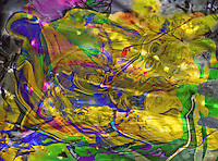 abstract dappled lights and colors in a multicolored image with a yellow color dominant with many shades.
