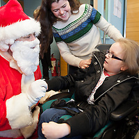 Shauna Monaghan meets Santa on his visit to St Clares School
