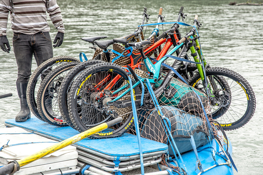 Darren Berrecloth and all the bikes loaded onto a raft before floating down the Tatshenshini River in the Tatshenshini-Alsek Provincial Park in British Columbia, Canada on August 31, 2016.