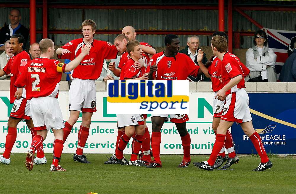Photo: Paul Greenwood.<br />Accrington Stanley v Macclesfield Town. Coca Cola League 2. 28/04/2007.<br />Accrington's Robert Williams (C) is mobbed by team mates after opening the scoring