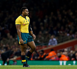 Samu Kerevi of Australia<br /> <br /> Photographer Simon King/Replay Images<br /> <br /> Under Armour Series - Wales v Australia - Saturday 10th November 2018 - Principality Stadium - Cardiff<br /> <br /> World Copyright © Replay Images . All rights reserved. info@replayimages.co.uk - http://replayimages.co.uk