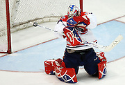 The Spokane Chiefs' goalie James Reid blocks a shot in the third period of the Chiefs' 5-4 win over the Americans in the final regular-season game at the Toyota Center in Kennewick on March 13, 2010.