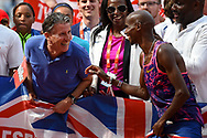 Mo Farah of Great Britain and Seb Coe share a joke during the Muller Anniversary Games at the London Stadium, London, England on 9 July 2017. Photo by Martin Cole.