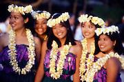 Hula girl with lei, Waikiki, Oahu, Hawaii