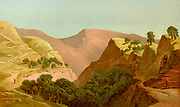 Coloured Illustration of the Valley of Hinnom [Gehenna or Gehinnom] from the book Palestine illustrated by Sir Richard Temple, 1st Baronet, GCSI, CIE, PC, FRS (8 March 1826 – 15 March 1902) was an administrator in British India and a British politician. Published in London by W.H. Allen & Co. in 1888