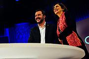 Matteo Salvini e Laura Boldrini guest of La7 tv program during the electoral campaing for the political elections. Rome 13 Febraury 2018. Christian Mantuano / OneShot