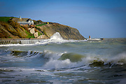 Large waves crash against the sea defence wall on Sunny Sands Beach, Folkestone, Kent, UK.  The tide is high covering all the beach and the sea is rough from stormy weather.  (photo by Andrew Aitchison / In pictures via Getty Images)