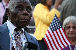 """Strathwell Johnson, a """"Silver Haired Legislator: Representative"""" delegate from Shiro, Texas, on the floor of the Democratic National Convention, Invesco Field at Mile High Stadium, Denver, Colorado, August 28, 2008."""